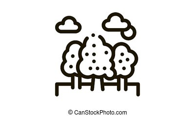 Trees Forest Icon Animation. black Trees Forest animated icon on white background