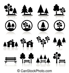 Trees, forest, park vector icons - Nature, trees icons set ...