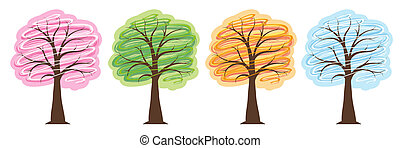 trees four seasons in bright colors spring summer autumn winter