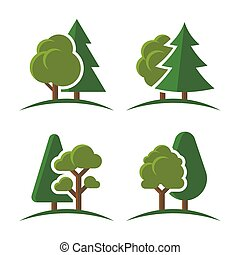 Trees Group Logo Set on White Background. Vector