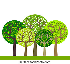 The group of green trees. Vector illustration