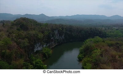 Trees growing on a cliff above a river - An area view of...