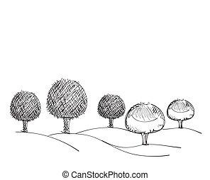 Trees hand drawn