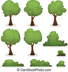 Trees, Hedges And Bush Set - Illustration of a set of...