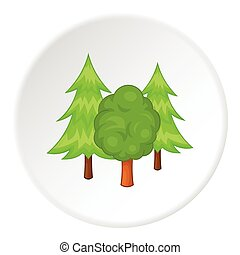 Trees icon, cartoon style