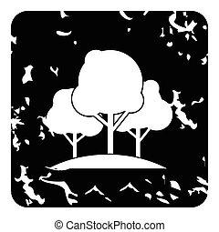 Trees icon, grunge style