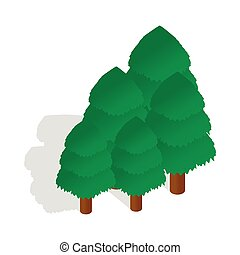 Trees icon in isometric 3d style