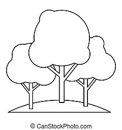 Trees icon in outline style