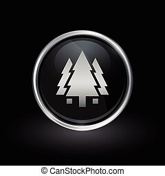 Trees icon inside round silver and black emblem
