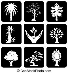 trees icons - set of vector silhouette icons of trees and...