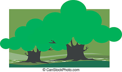 Trees - Illustration of two trees in a landscape