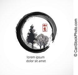 Trees in black enso zen circle on white background....