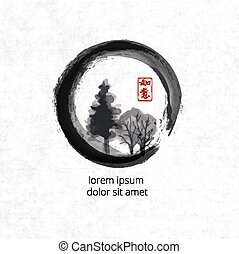 Trees in black enso zen circle on vintage rice paper...