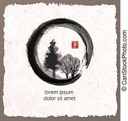Trees in black enso zen circle on vintage background....