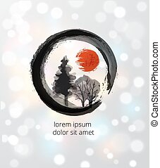 Trees in black enso zen circle on white glowing background....