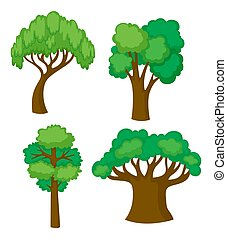 Trees in four different shapes