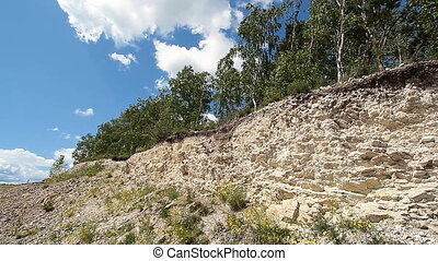 Trees in quarry 12 - Trees in quarry and blue sky with...