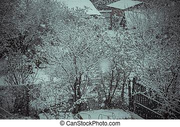 Trees in Snowfall Retro