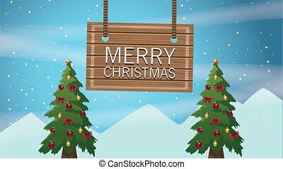 trees, labels, веселый, счастливый, карта, pines, рождество
