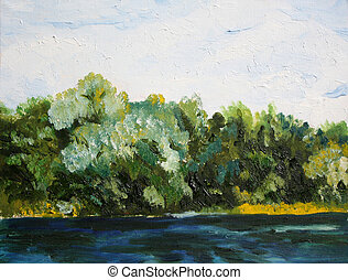 trees near the water oil painting