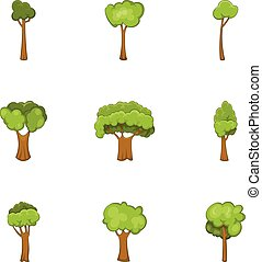 Trees of different shapes icons set, cartoon style