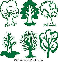 Green tree silhouettes