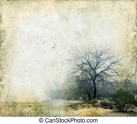 Trees on a Grunge Background - Trees in a foggy landscape on...