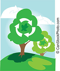 trees on a hill - cartoon trees on hill symbolising...