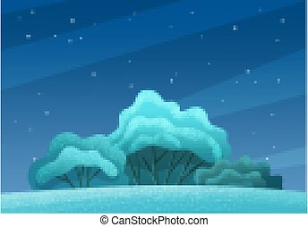 Trees or bushes with a lush crown on the hill in night time lighting on starry sky background