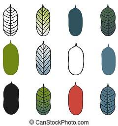 Trees or leaves set. Vector stock illustration, EPS10
