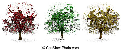 Trees painted illustration