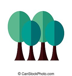 trees plants forest flat style icon