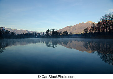 Trees reflected on a lake with mountain
