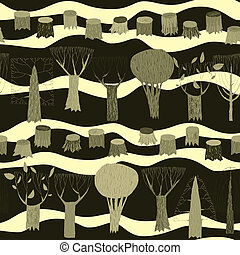 Trees seamless pattern tapestry in grey is hand drawn grunge...