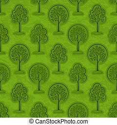 Trees Seamless - Seamless Pattern, Forest, Trees Outline...