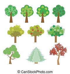 trees set in a flat design style to the streets or park. Vector, illustration EPS10.