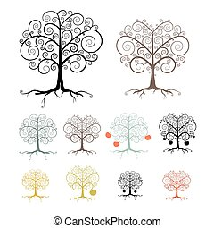 Trees Set Isolated on White Background - Abstract Vector Illustration