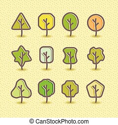 Trees silhouette, design vector set. Concept tree icon collection