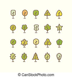 Trees silhouette isolated on white. Design vector set. Concept tree icon collection