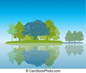 Trees Silhouette with Reflection in Water Flat design Vector