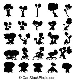 Trees silhouettes set