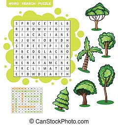 Trees themed word search puzzle - Trees themed zigzag word...