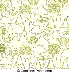 trees thin line icons vector illustration