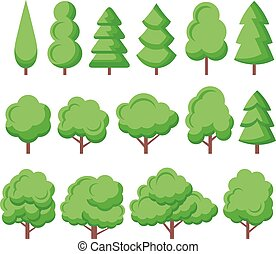 Trees vector flat icons set