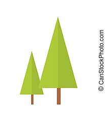Trees Vector Illustration in Flat Design.