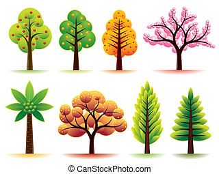 Vector set with various trees.