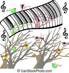 Trees with birds and original