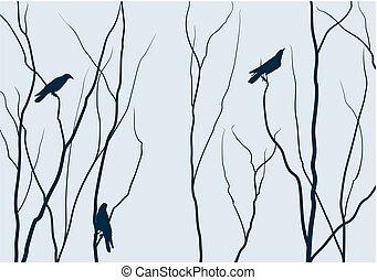 Trees with birds.