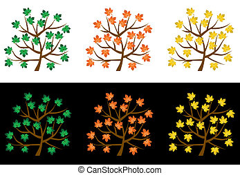 Trees with leafs on a white background