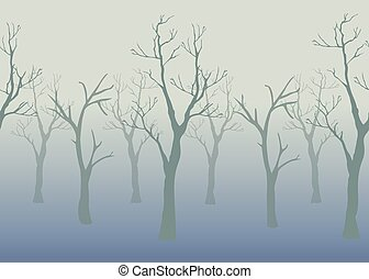 Trees with no leaves.